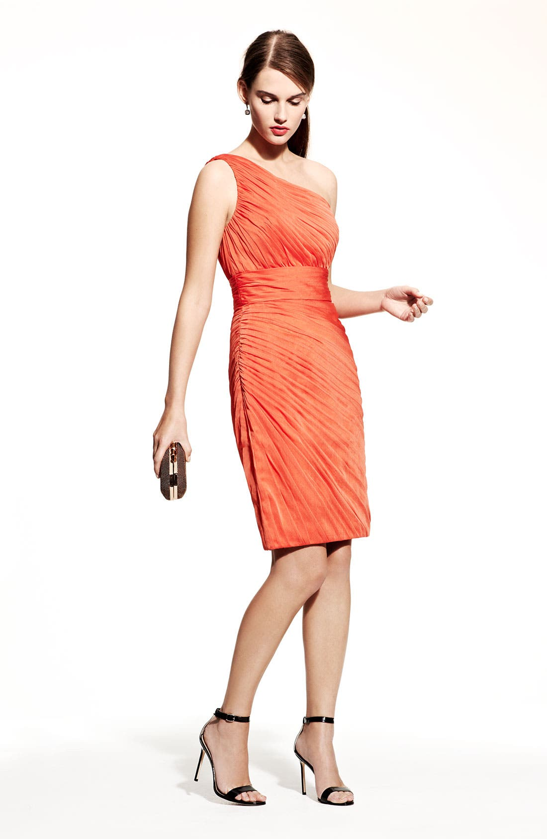 Alternate Image 2  - ML Monique Lhuillier Bridesmaids Ruched One-Shoulder Chiffon Sheath Dress (Nordstrom Exclusive)