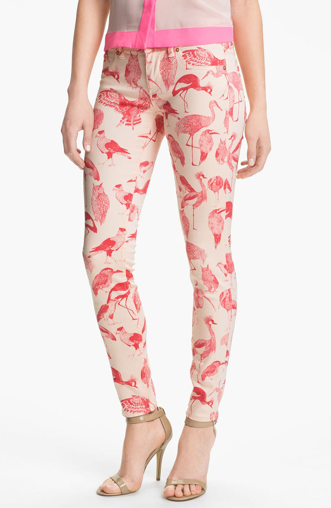 Main Image - Ted Baker London Print Stretch Skinny Jeans (Natural)