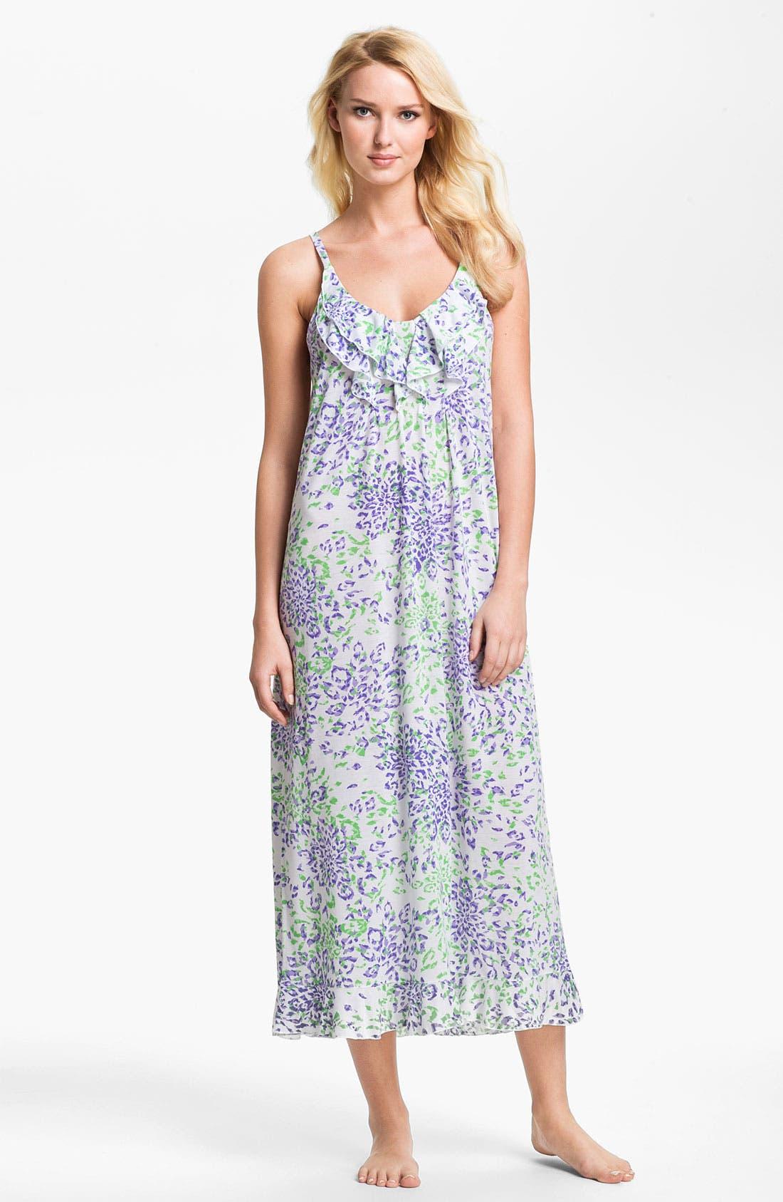 Main Image - Oscar de la Renta Sleepwear 'Animal Blossom' Nightgown
