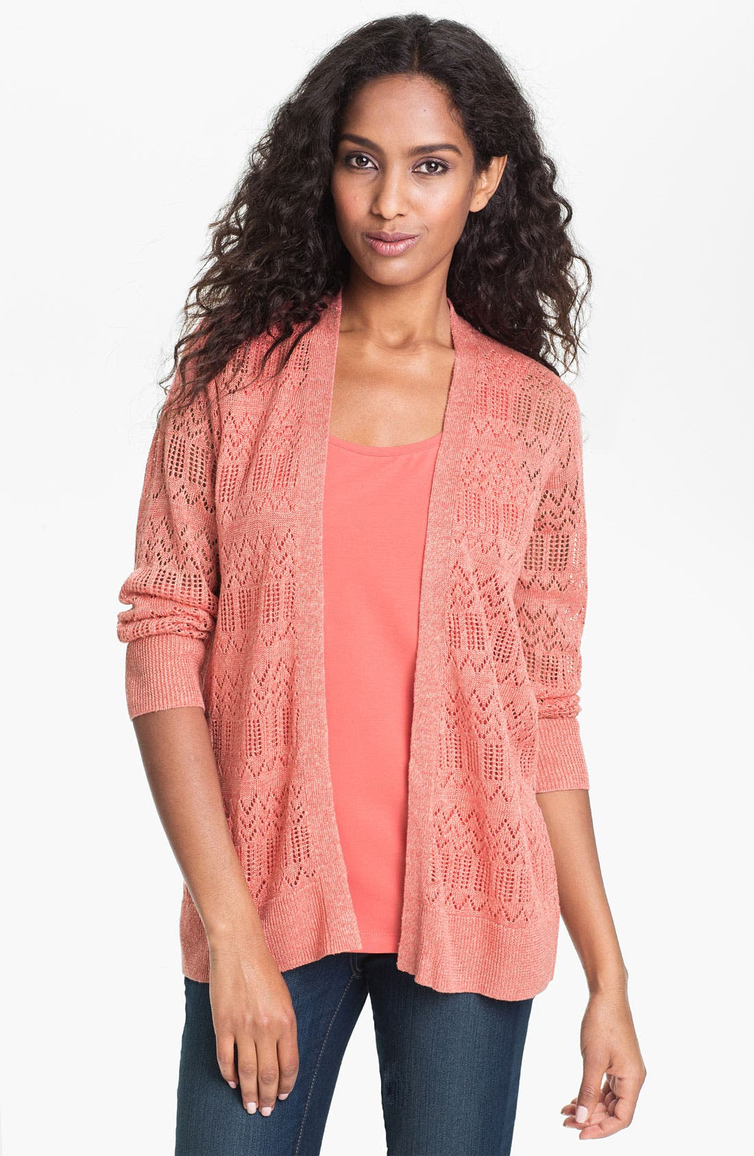 Alternate Image 1 Selected - Amber Sun Pointelle Linen Blend Cardigan