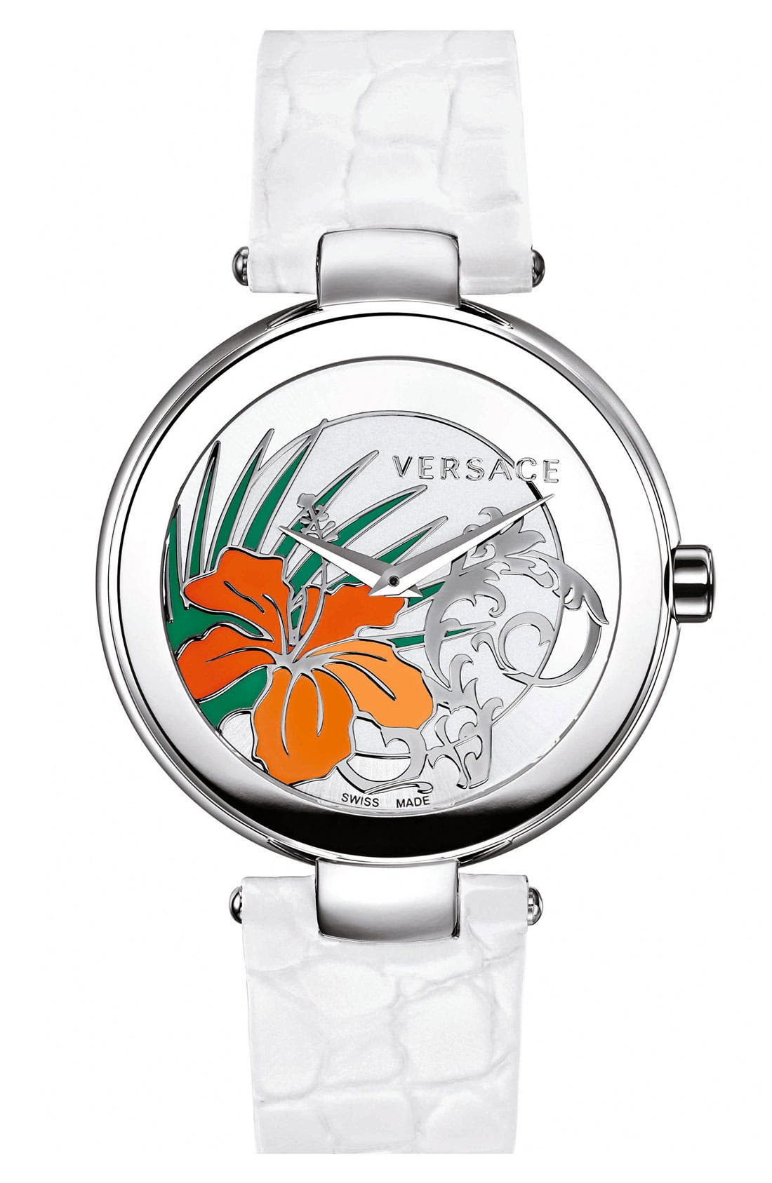 Main Image - Versace 'Mystique Hibiscus' Embossed Leather Strap Watch, 38mm