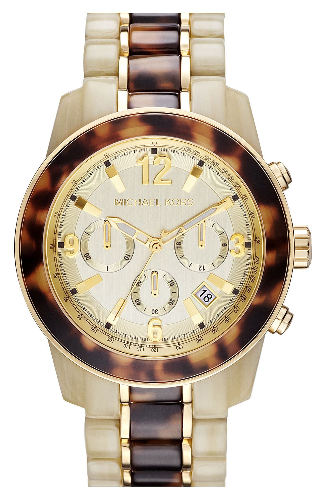 Alternate Image 1 Selected - Michael Kors 'Preston' Two Tone Chronograph Bracelet Watch, 45mm