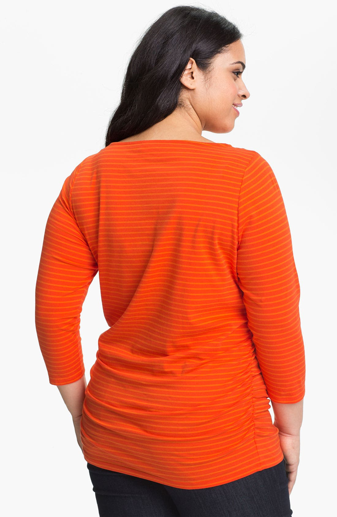 Alternate Image 2  - MICHAEL Michael Kors Zipper Detail Stripe Top (Plus)