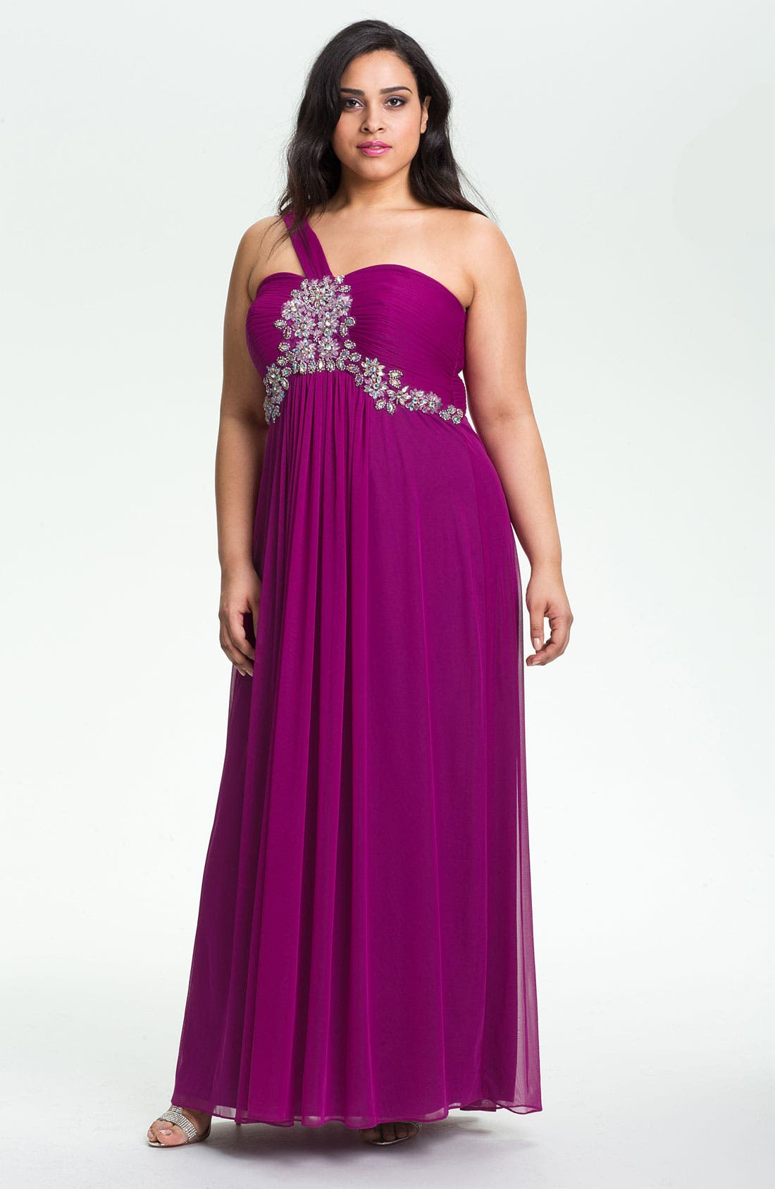 Main Image - Xscape Embellished One Shoulder Mesh Gown (Plus Size) (Online Only)