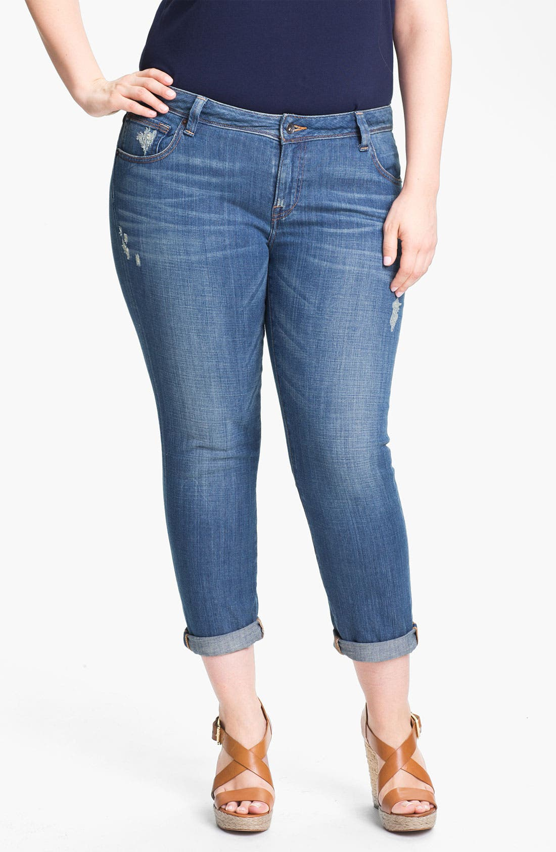 Alternate Image 1 Selected - Lucky Brand 'Ginger' Boyfriend Jeans (Plus Size)