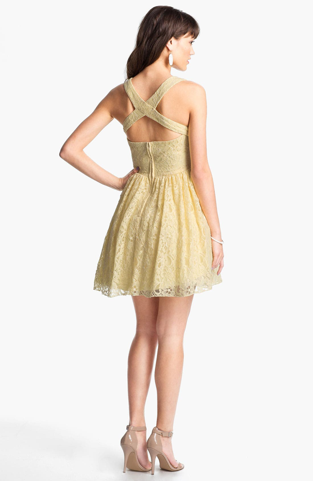 Alternate Image 2  - Way-In Cross Back Lace Dress (Juniors)