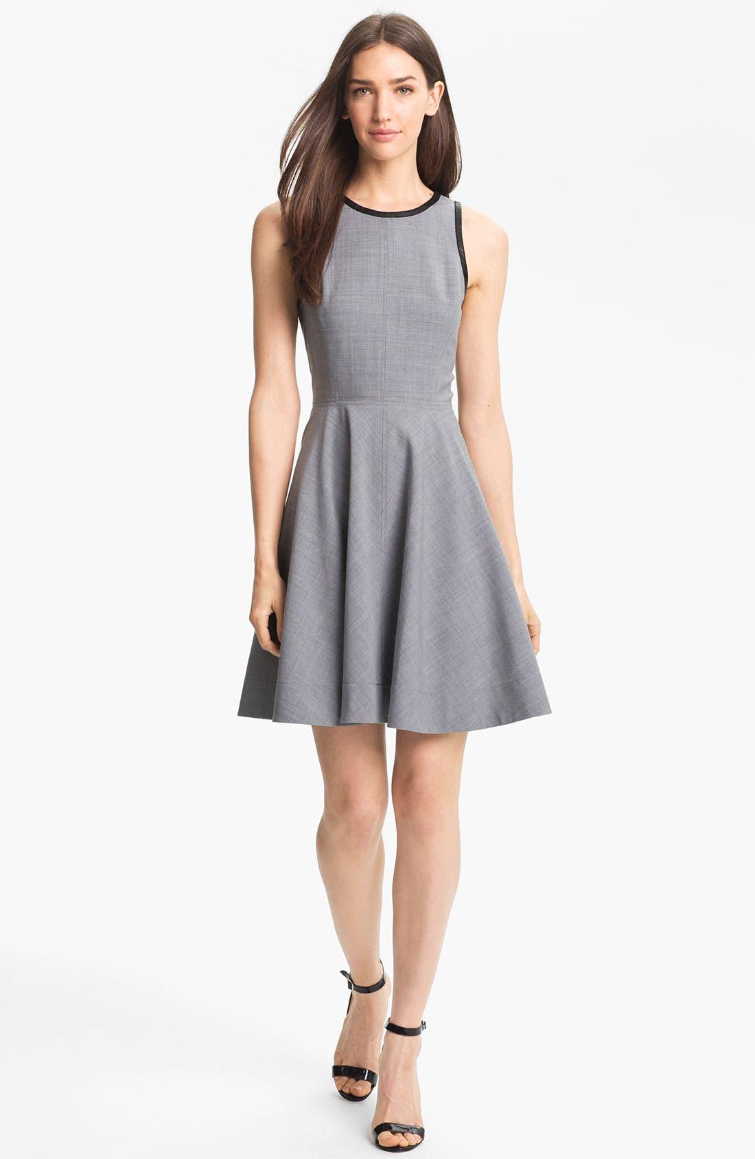 Main Image - Rebecca Taylor Mixed Media Fit & Flare Dress