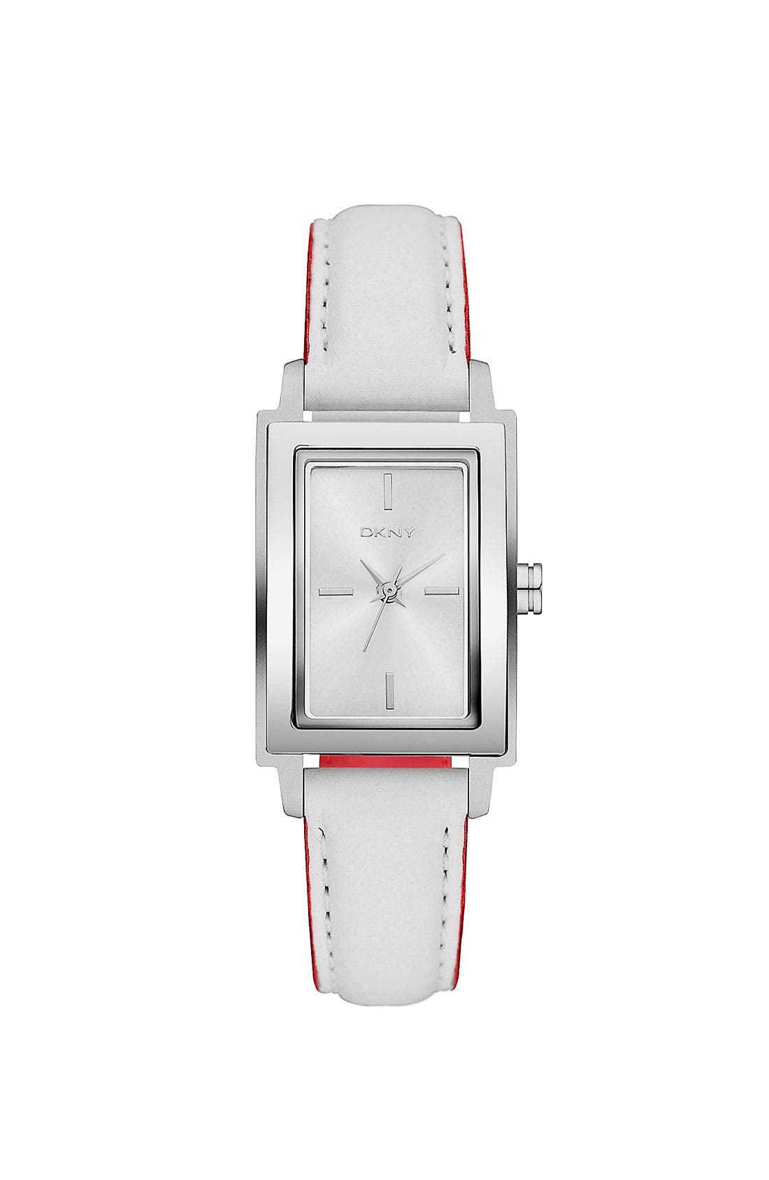 Main Image - DKNY Rectangular Leather Strap Watch, 23mm x 28mm
