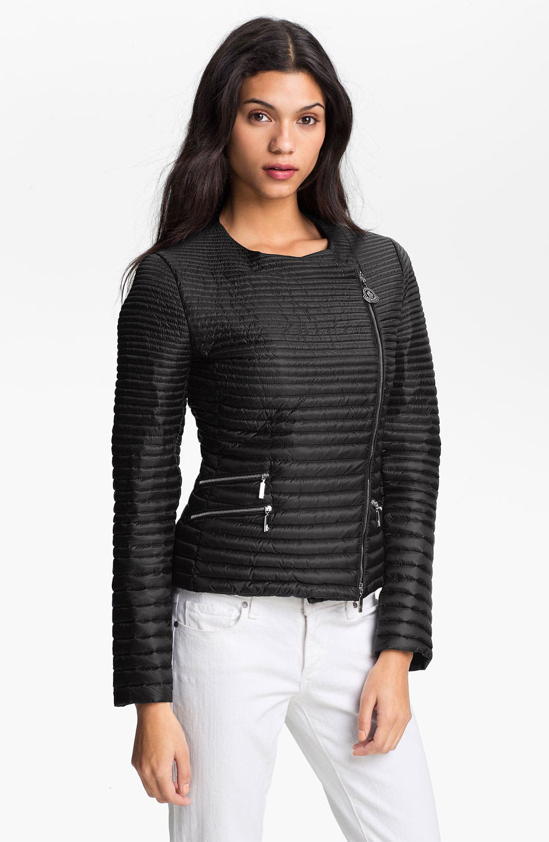 Main Image - Moncler 'Prisca' Packable Asymmetrical Zip Down Jacket