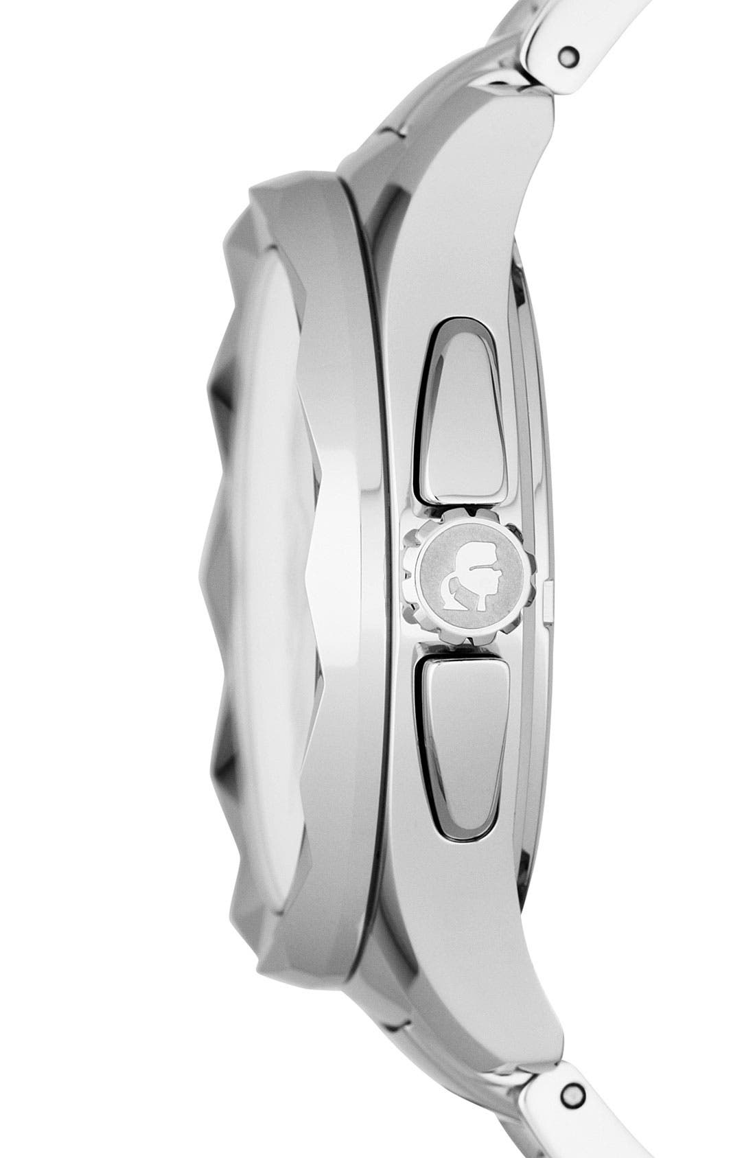 Alternate Image 3  - KARL LAGERFELD '7' Faceted Bezel Bracelet Watch, 44mm x 53mm