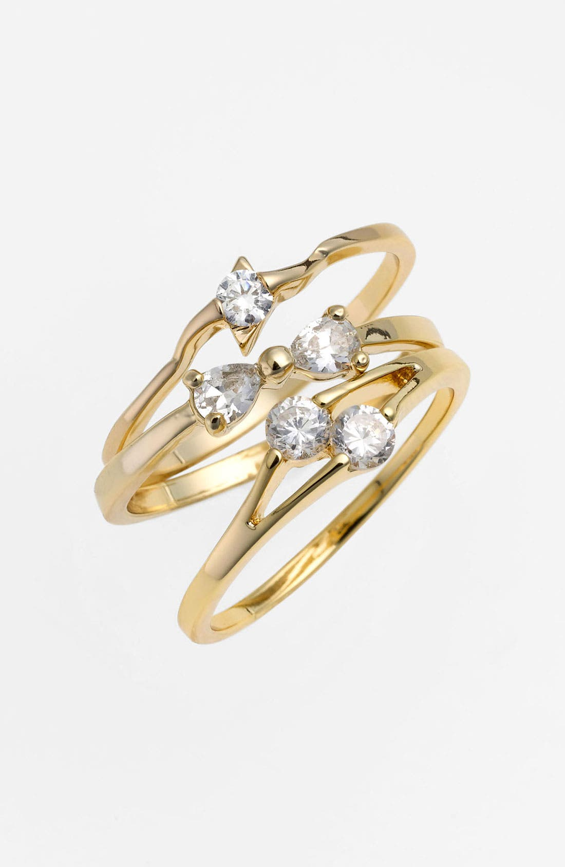 Main Image - Ariella Collection Stackable Cubic Zirconia Rings (Set of 3) (Nordstrom Exclusive)