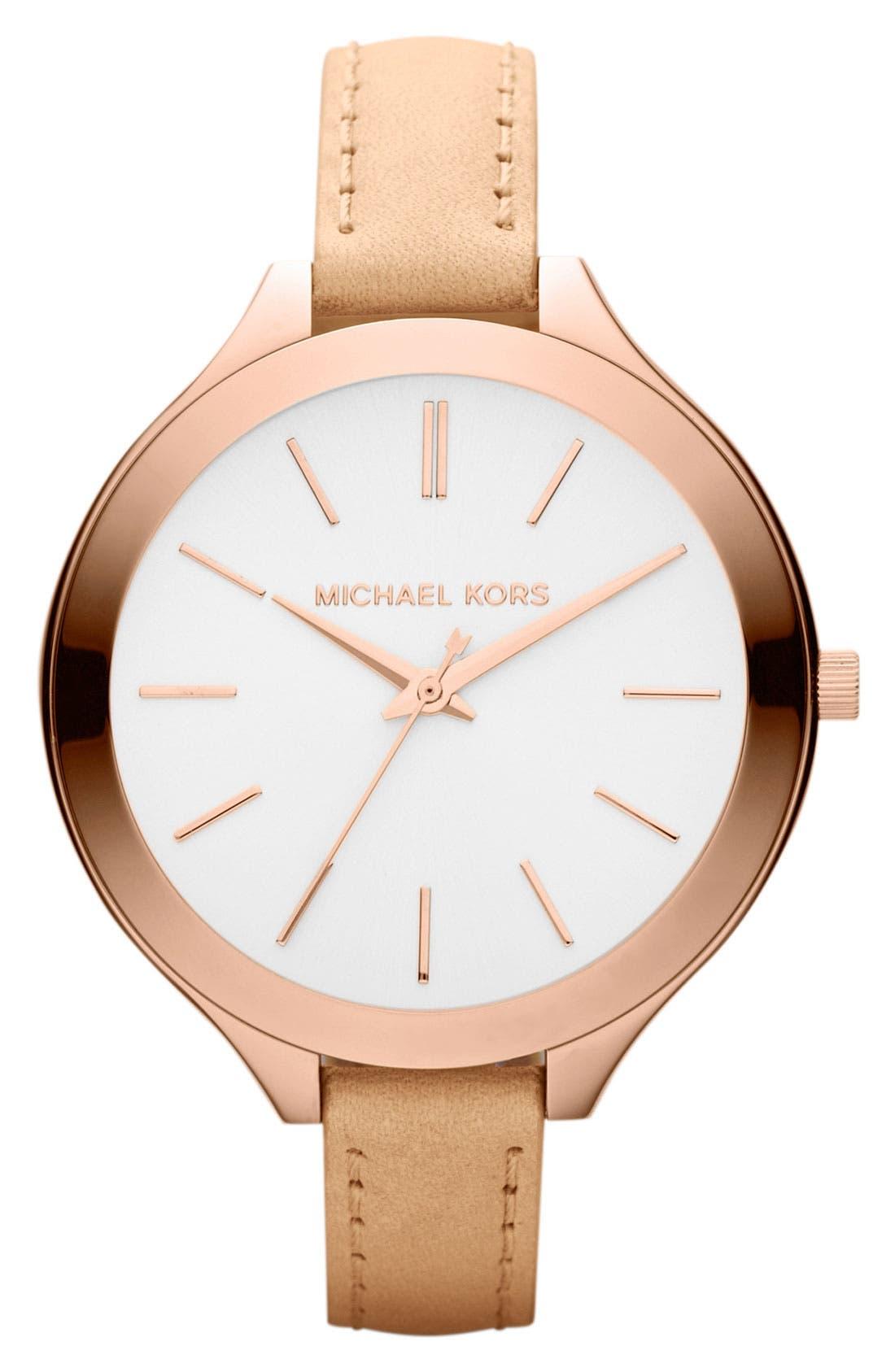 Main Image - Michael Kors 'Slim Runway' Leather Strap Watch, 42mm