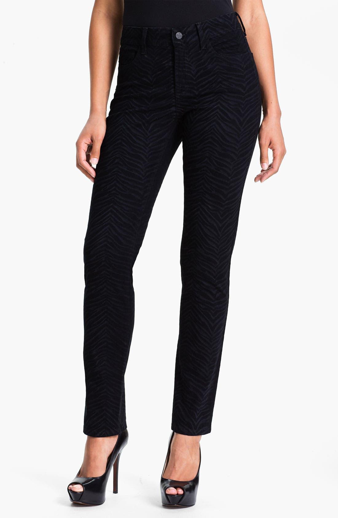 Alternate Image 1 Selected - NYDJ 'Sheri - Zebra' Print Twill Skinny Jeans (Petite)