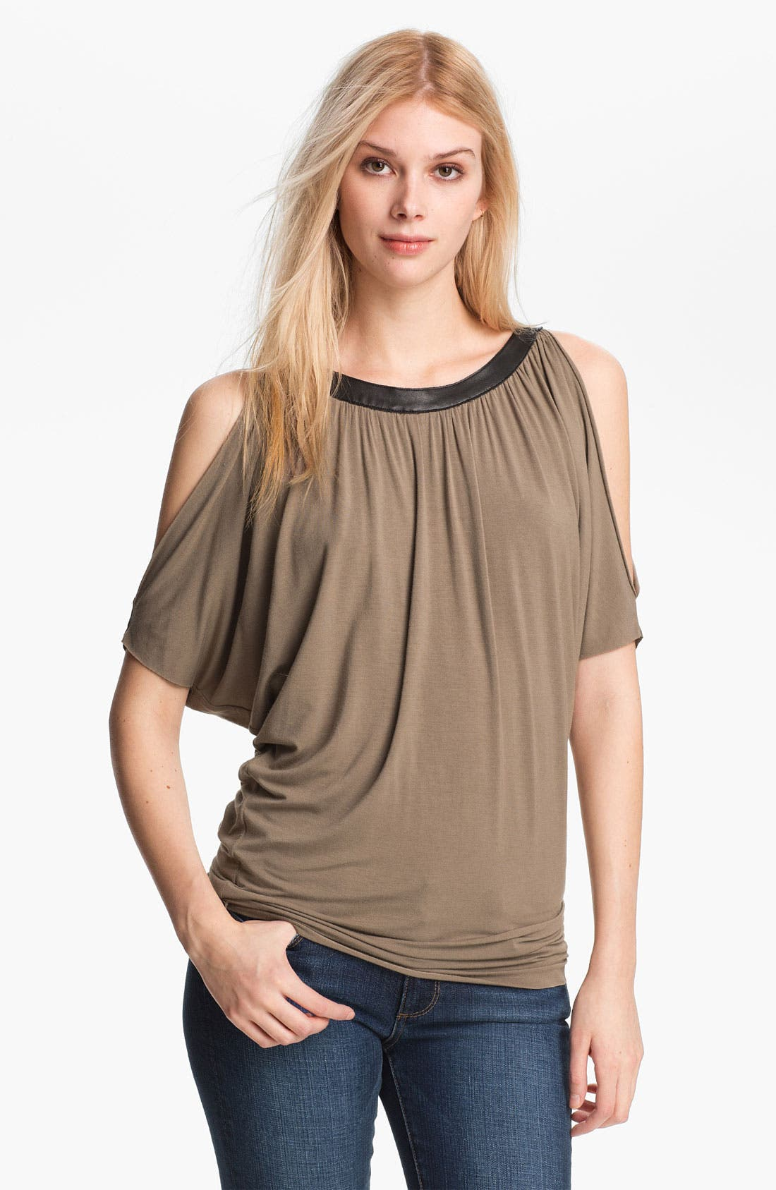 Main Image - Bailey 44 'Picasso' Faux Leather Trim Cold Shoulder Top