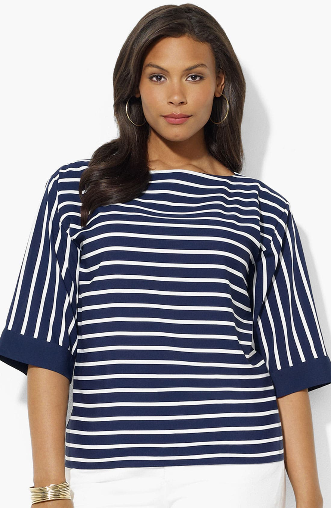 Alternate Image 1 Selected - Lauren Ralph Lauren Stripe Top (Plus)