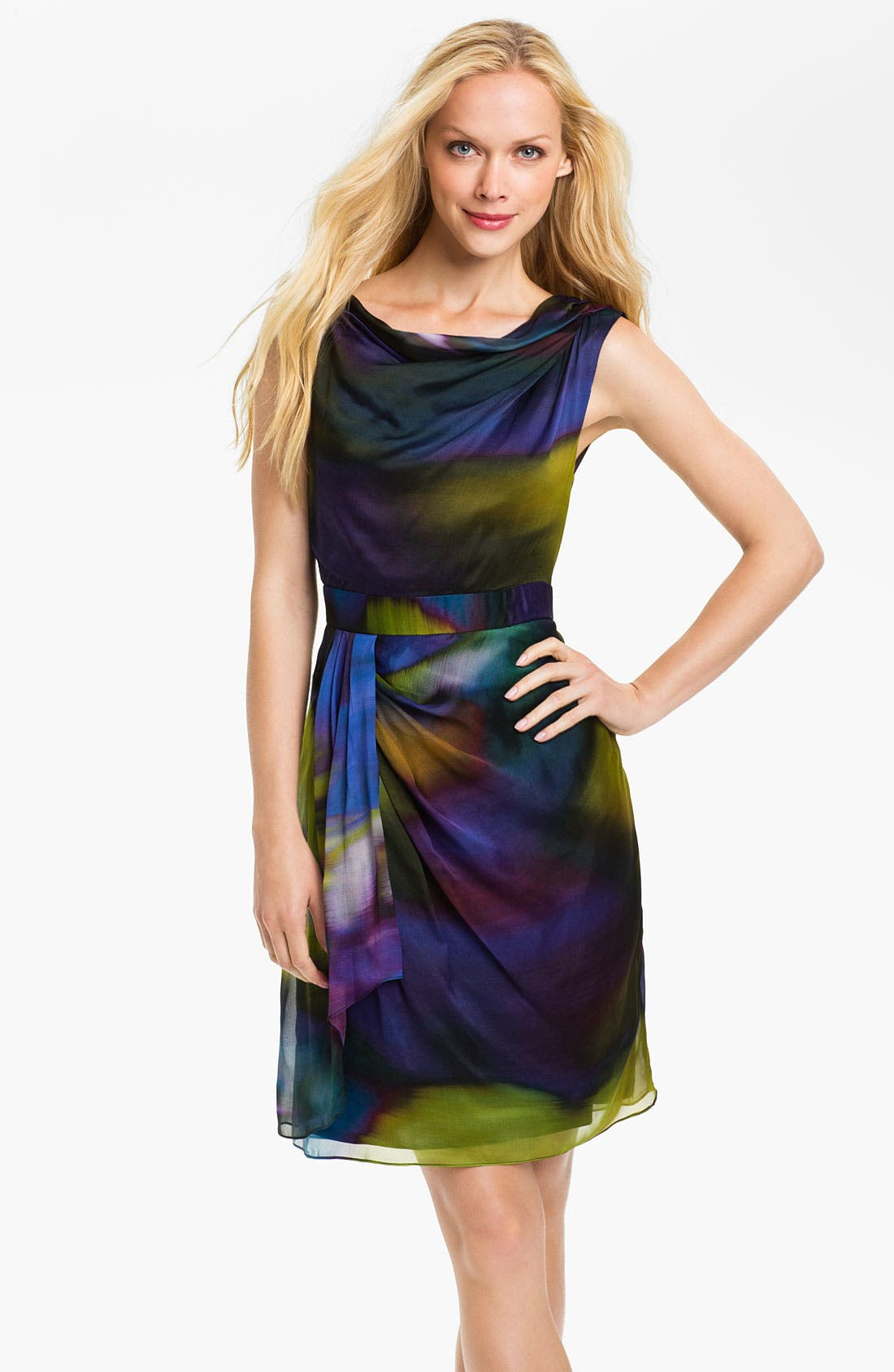 Main Image - Suzi Chin for Maggy Boutique Side Drape Silk Dress (Petite)