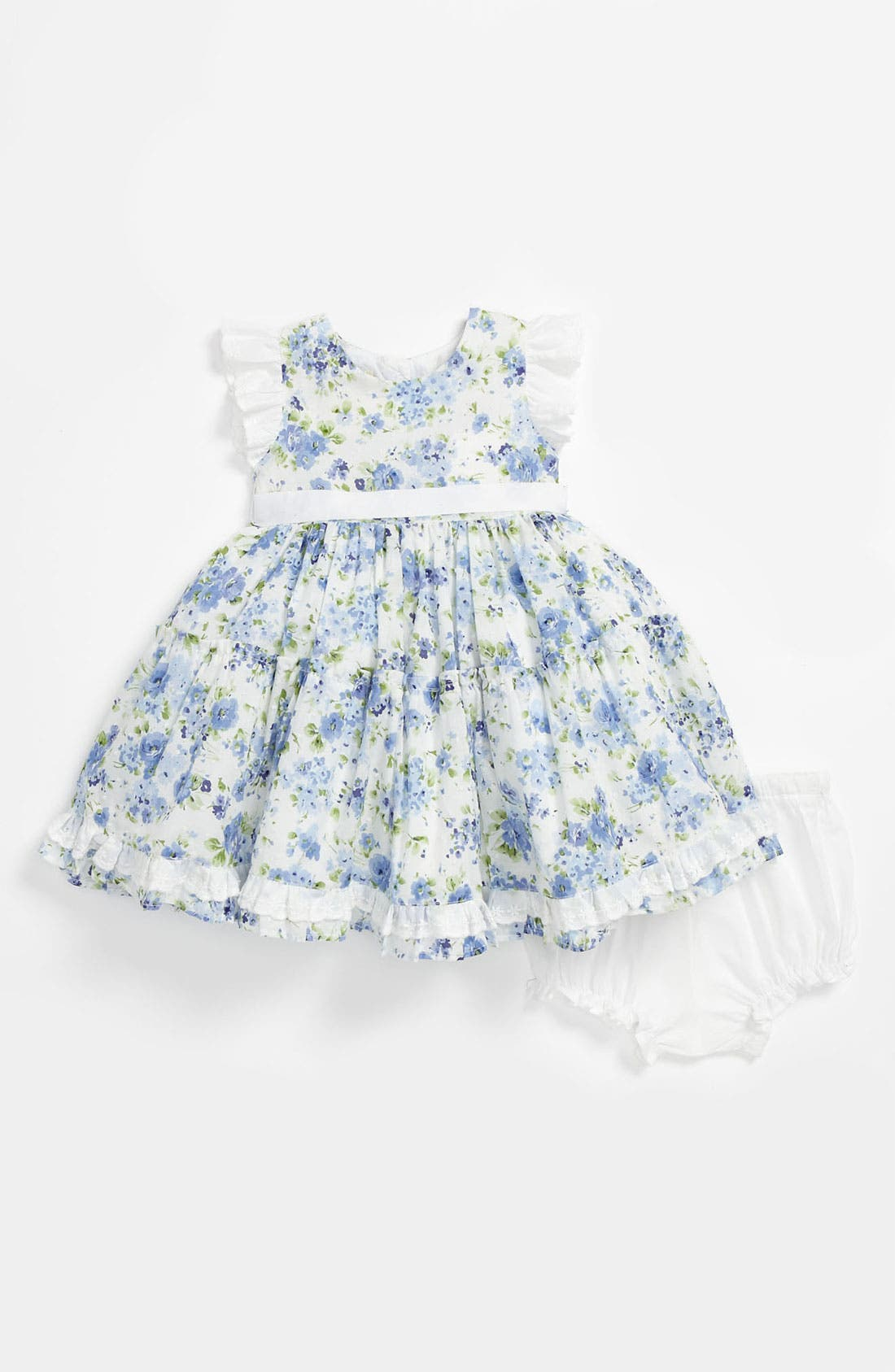 Alternate Image 1 Selected - Laura Ashley Dress & Bloomers (Baby Girls)