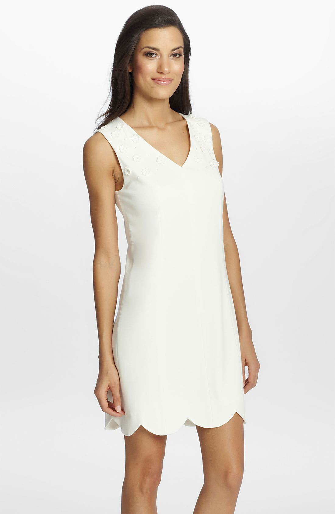 Alternate Image 1 Selected - Cynthia Steffe 'Scarlett' Embroidered Ponte Knit Shift Dress