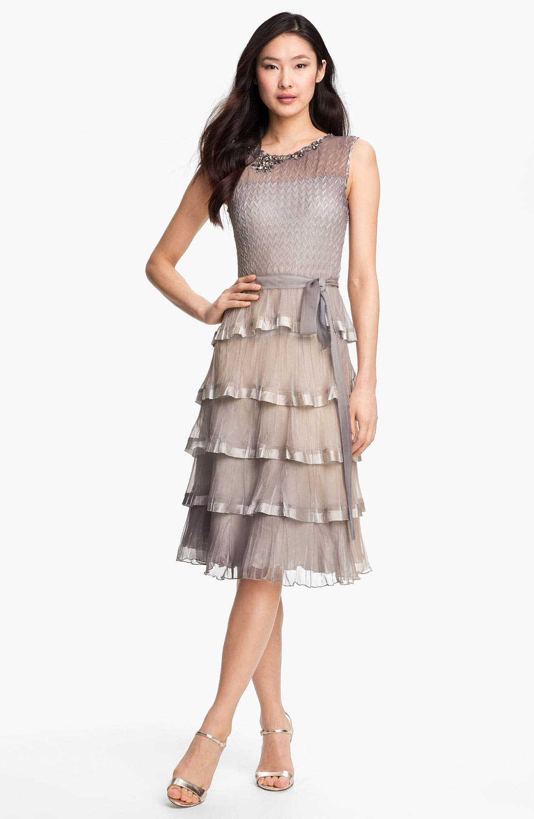 Main Image - Black by Komarov Embellished Tiered Ombré Chiffon Dress