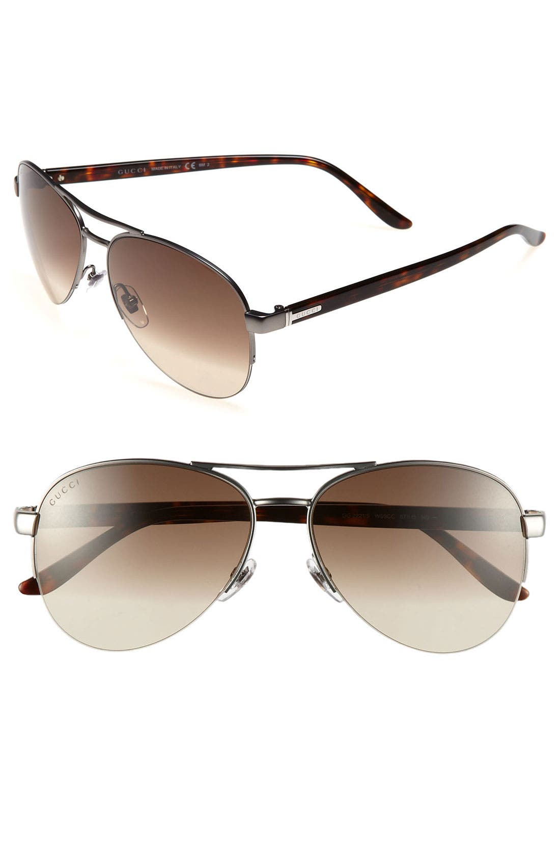 Main Image - Gucci Metal 57mm Aviator Sunglasses