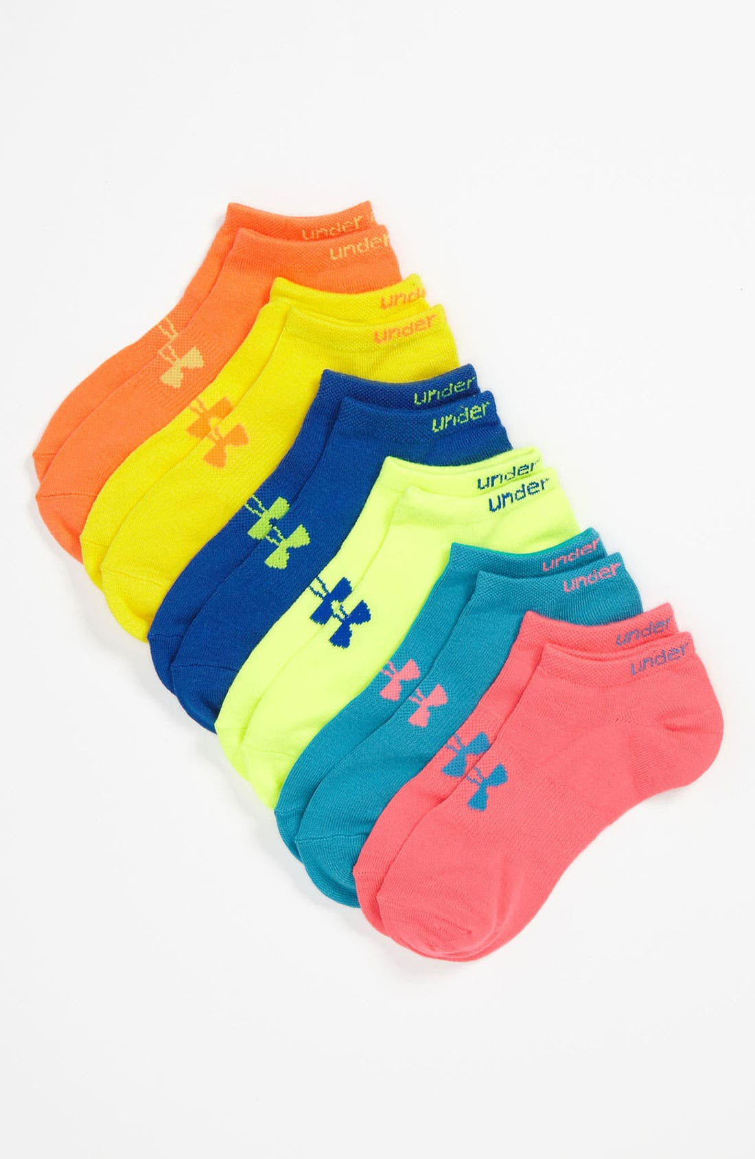 Main Image - Under Armour Neon No-Show Socks (Six-Pack)