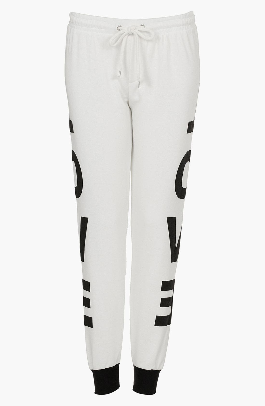 Main Image - Topshop 'Love' Graphic Tapered Sweatpants