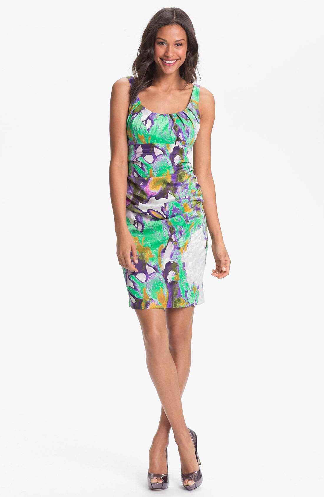 Main Image - Suzi Chin for Maggy Boutique Ruched Print Sheath Dress