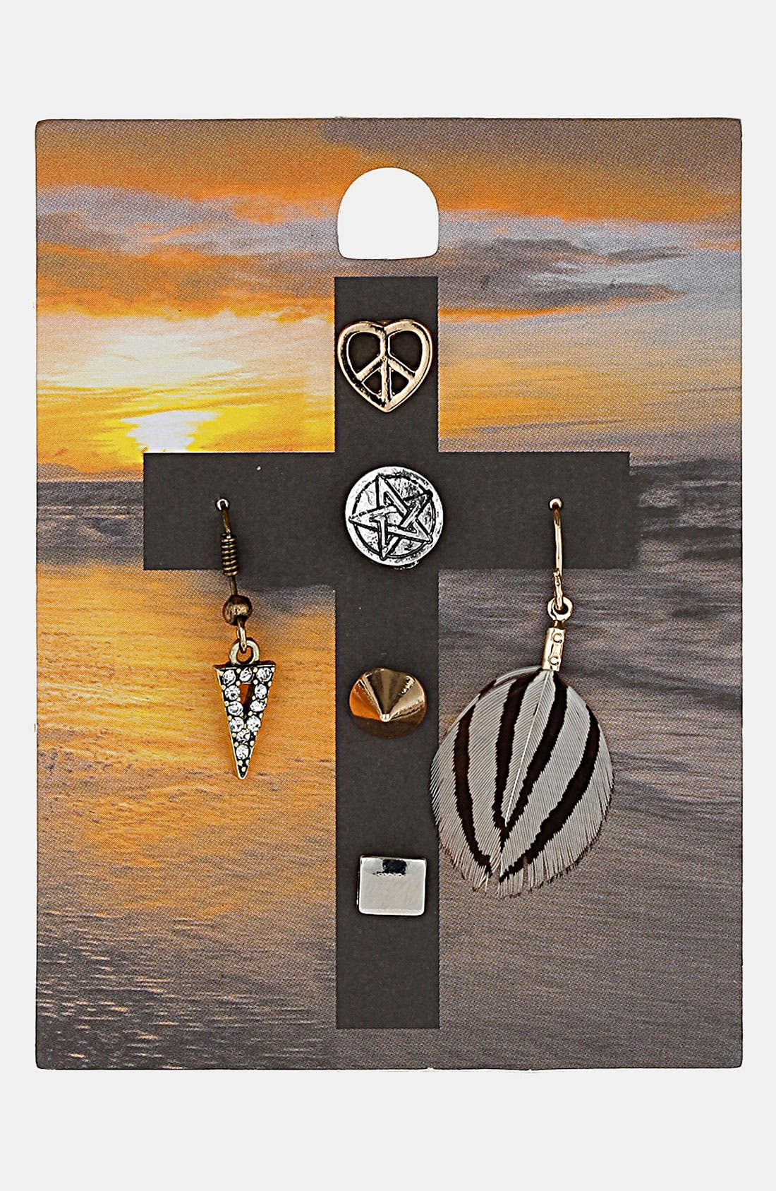 Alternate Image 1 Selected - Topshop 'Cross Earth Child' Assorted Earrings (Set of 6)