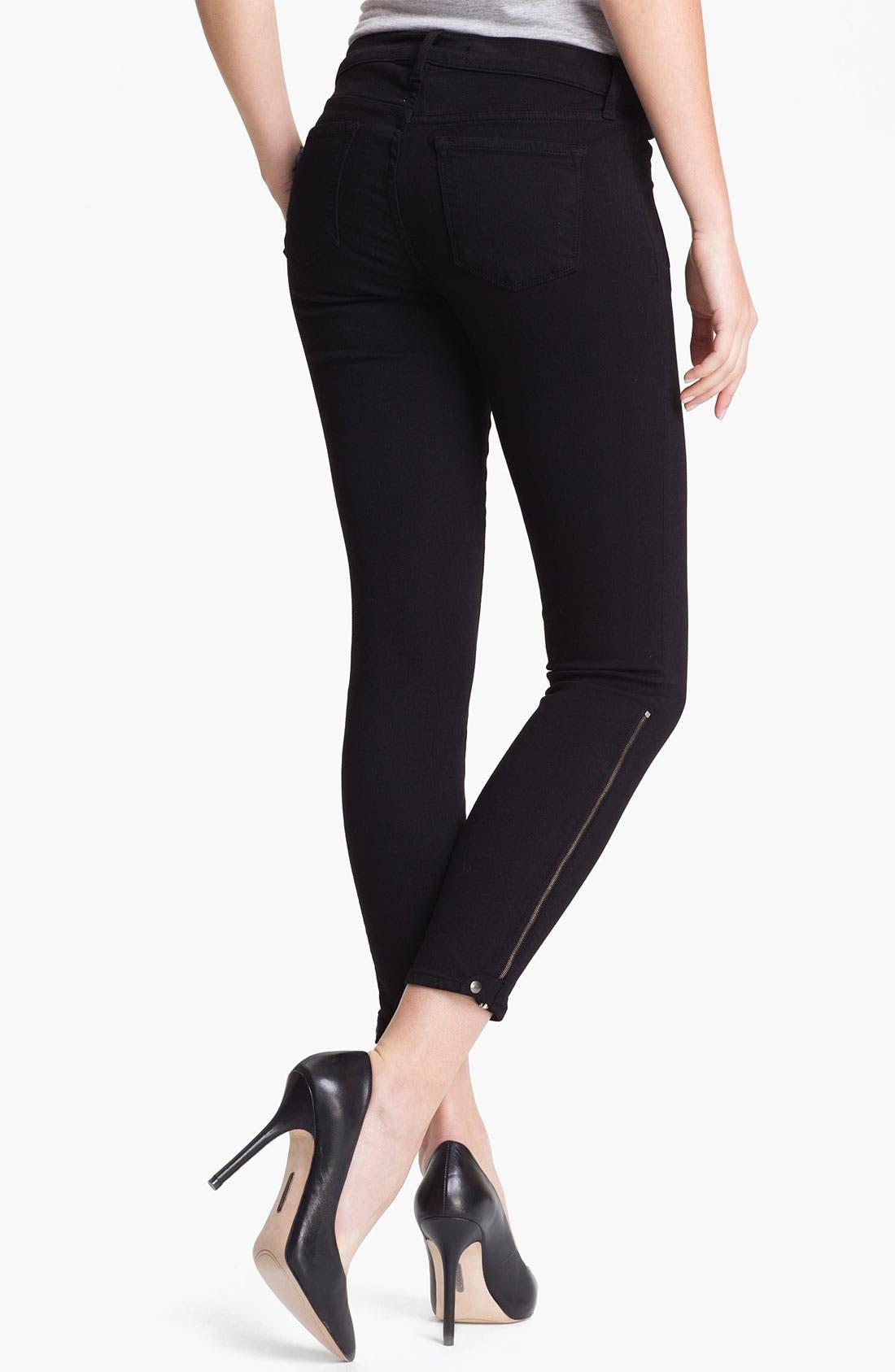 Alternate Image 2  - J Brand 'Carey' Zip Detail Moto Skinny Jeans (Black)