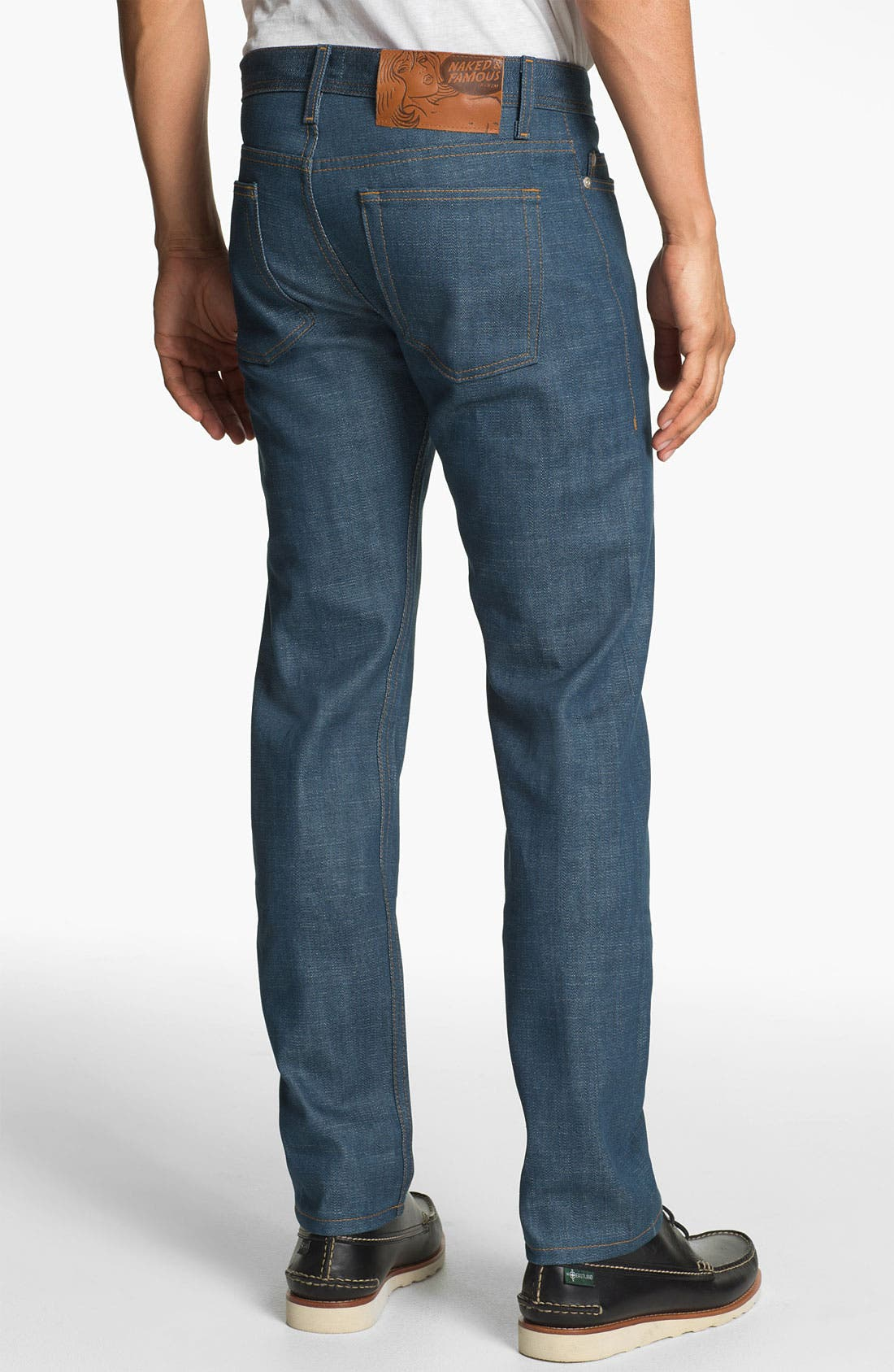 Alternate Image 1 Selected - Naked & Famous Denim 'Weird Guy' Slim Tapered Leg Broken Twill Selvedge Jeans (Royal Blue)