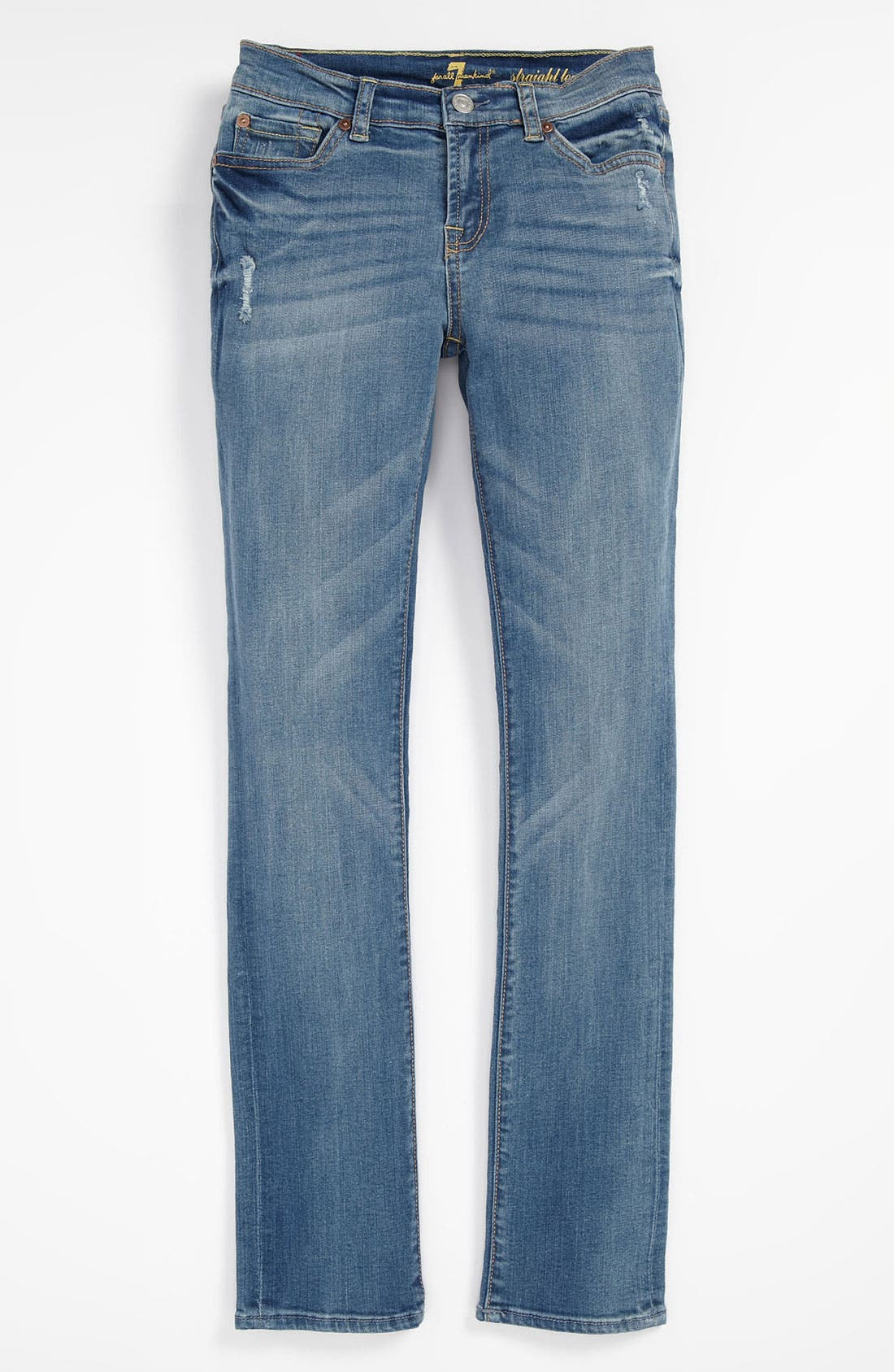 Alternate Image 2  - 7 For All Mankind® Distressed Straight Leg Jeans (Big Girls)