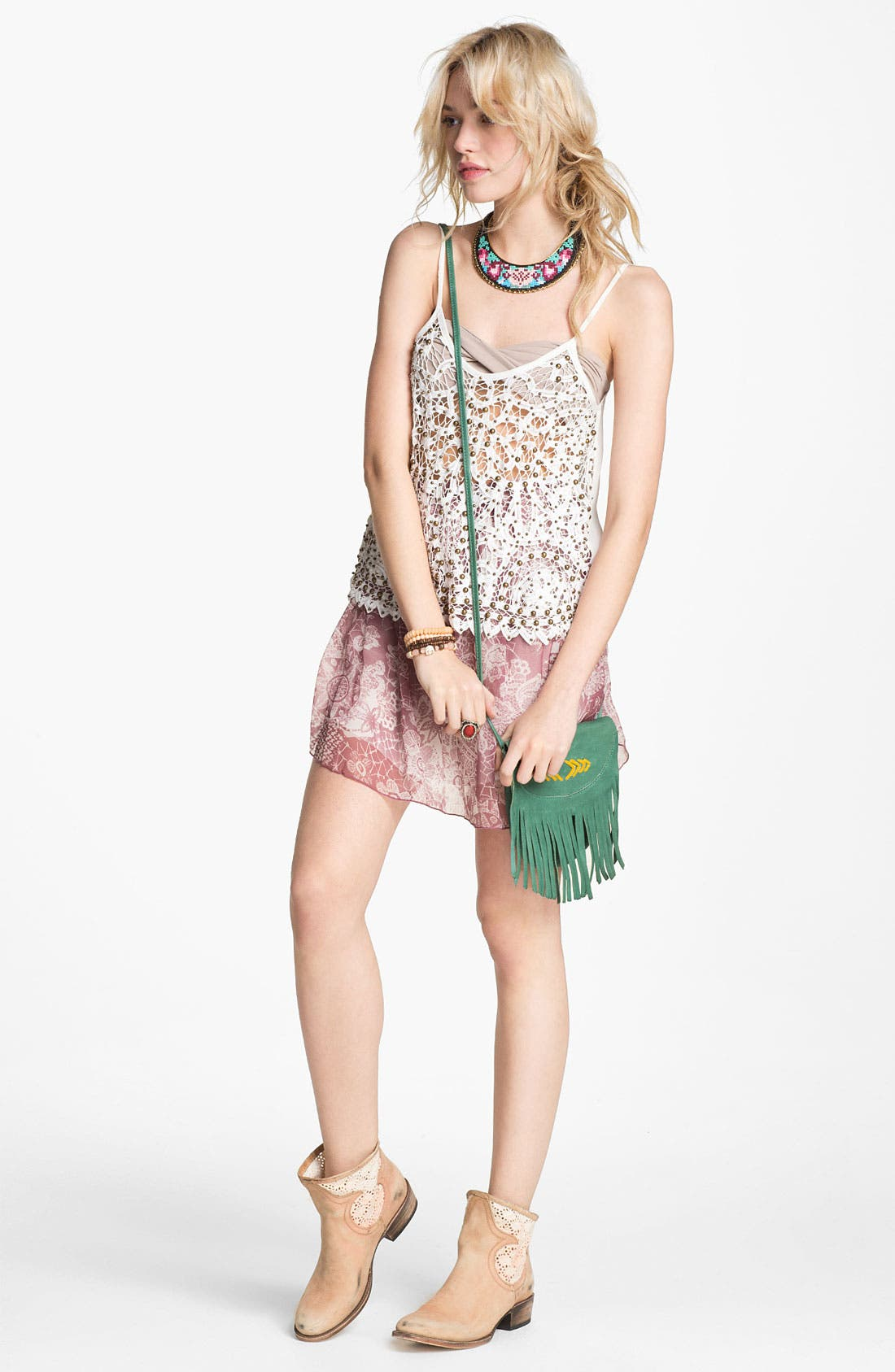 Alternate Image 2  - ASTR Studded Crochet Tank