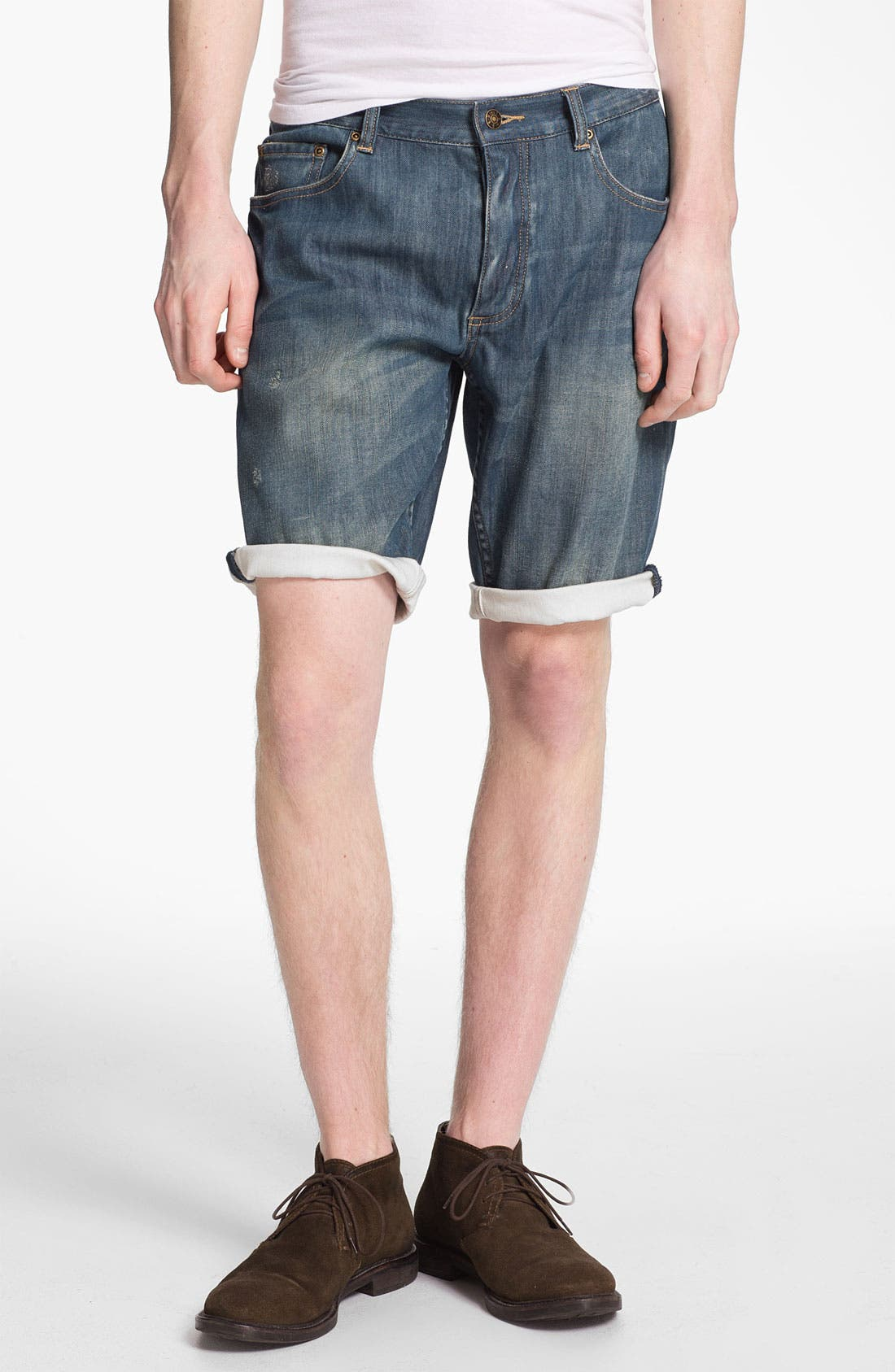 Main Image - Topman Washed Denim Shorts