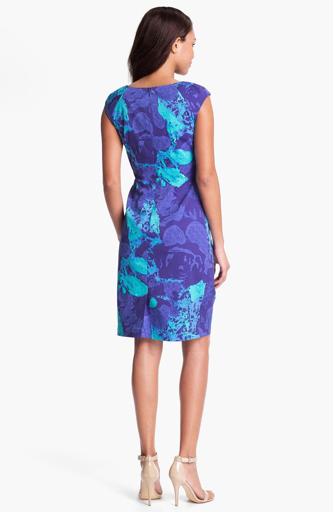 Alternate Image 2  - Adrianna Papell Print Side Pleat Sheath Dress
