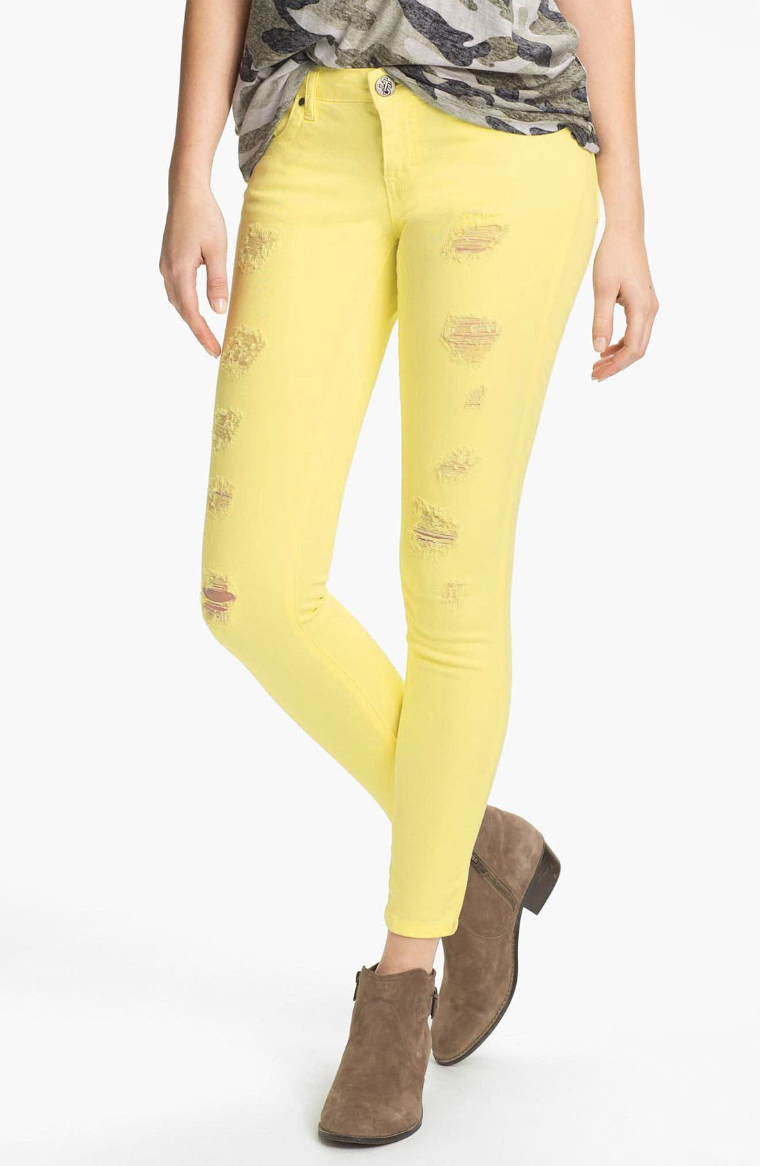 Alternate Image 1 Selected - STS Blue Destroyed Skinny Stretch Jeans (Juniors)