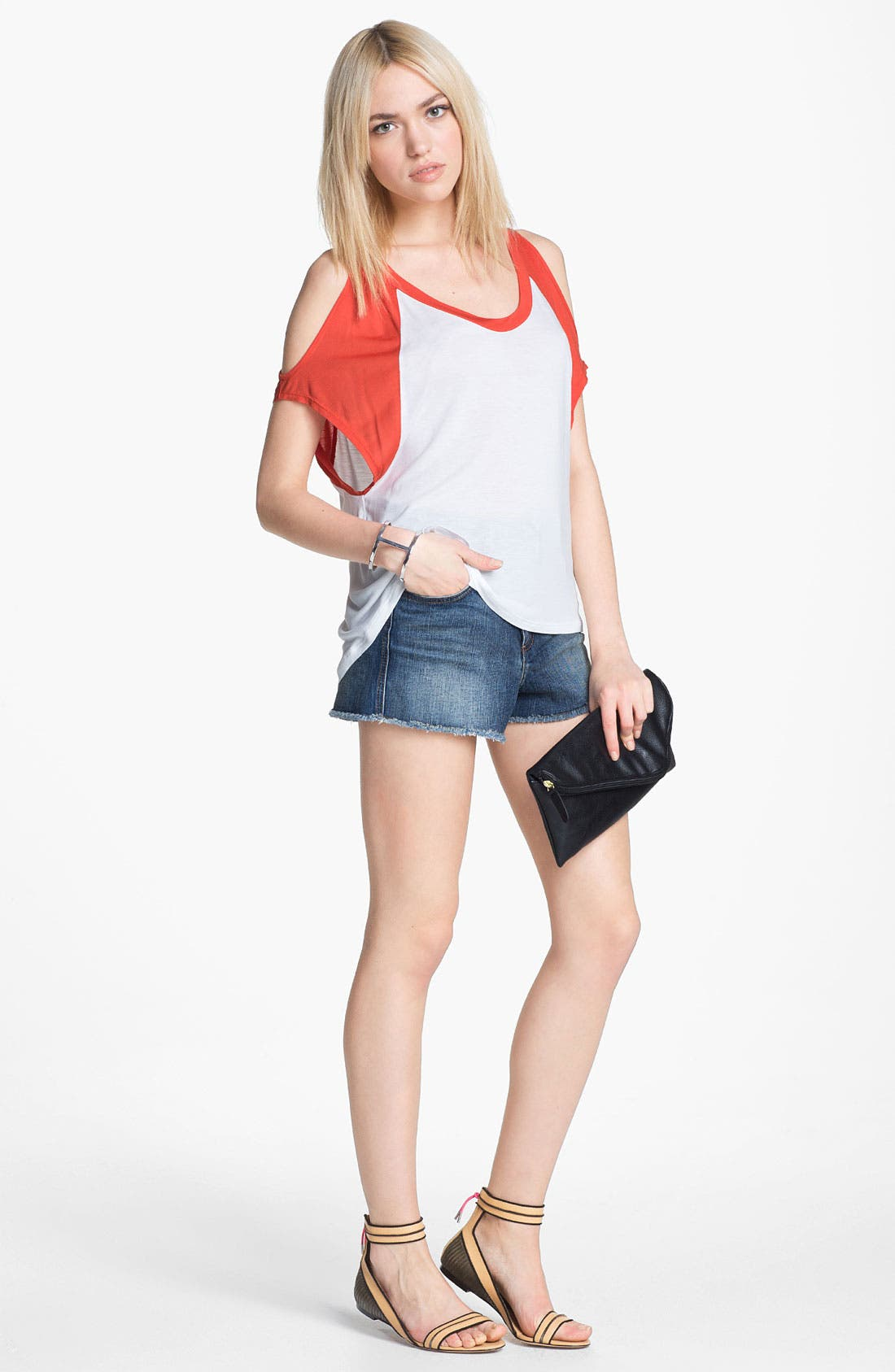 Main Image - Piper Top & Edyson High Waisted Cutoff Shorts