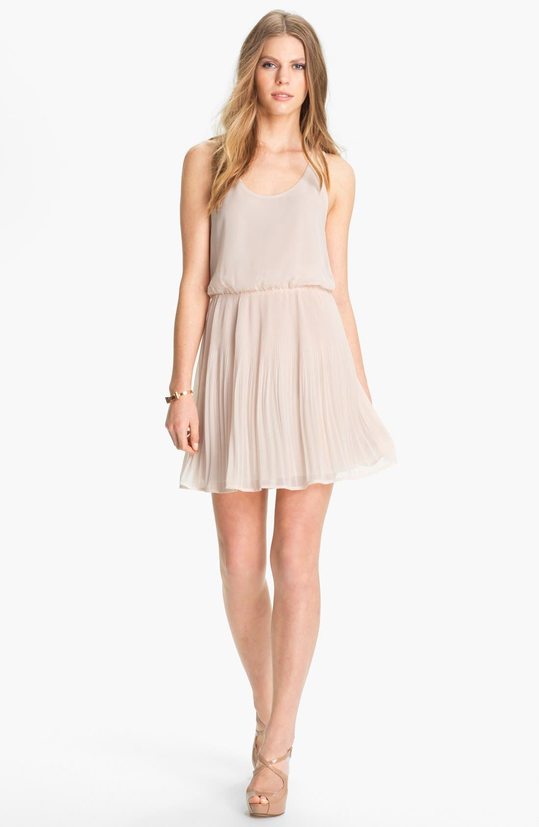 Main Image - Lush Mesh Back Pleated Chiffon Dress (Juniors)