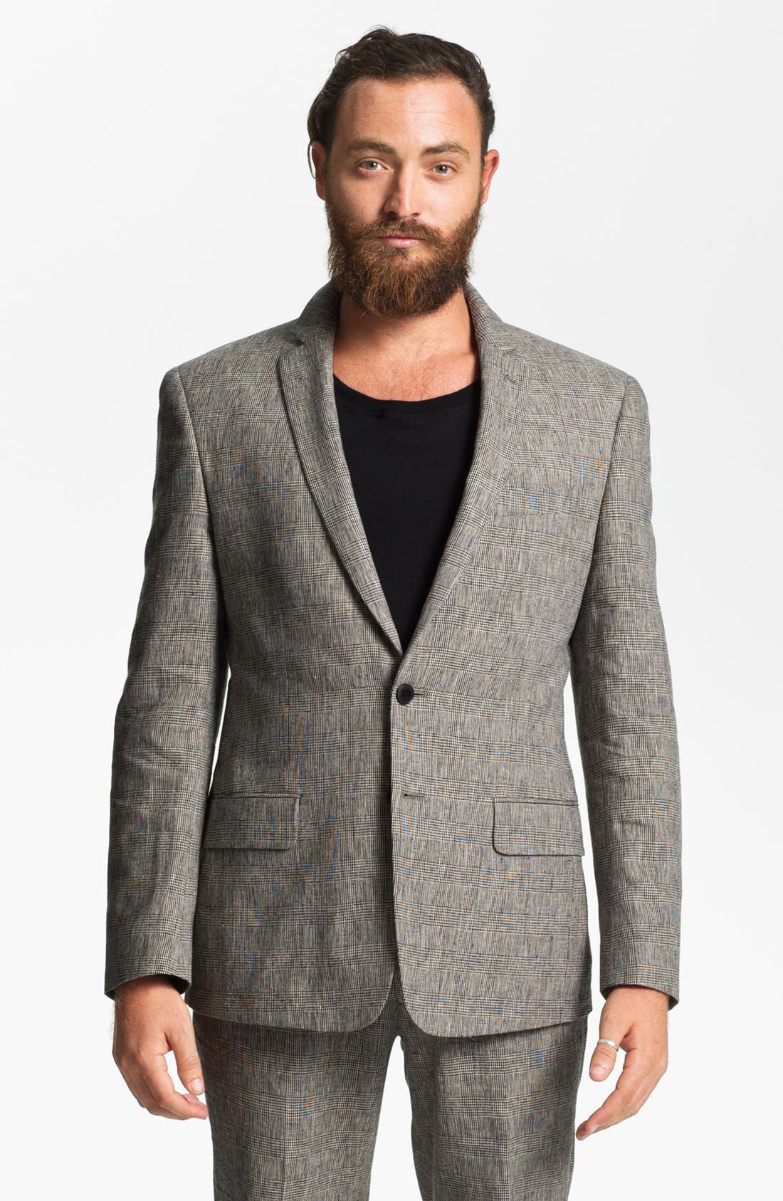 Main Image - John Varvatos Star USA Red Label Glen Plaid Linen Blend Blazer