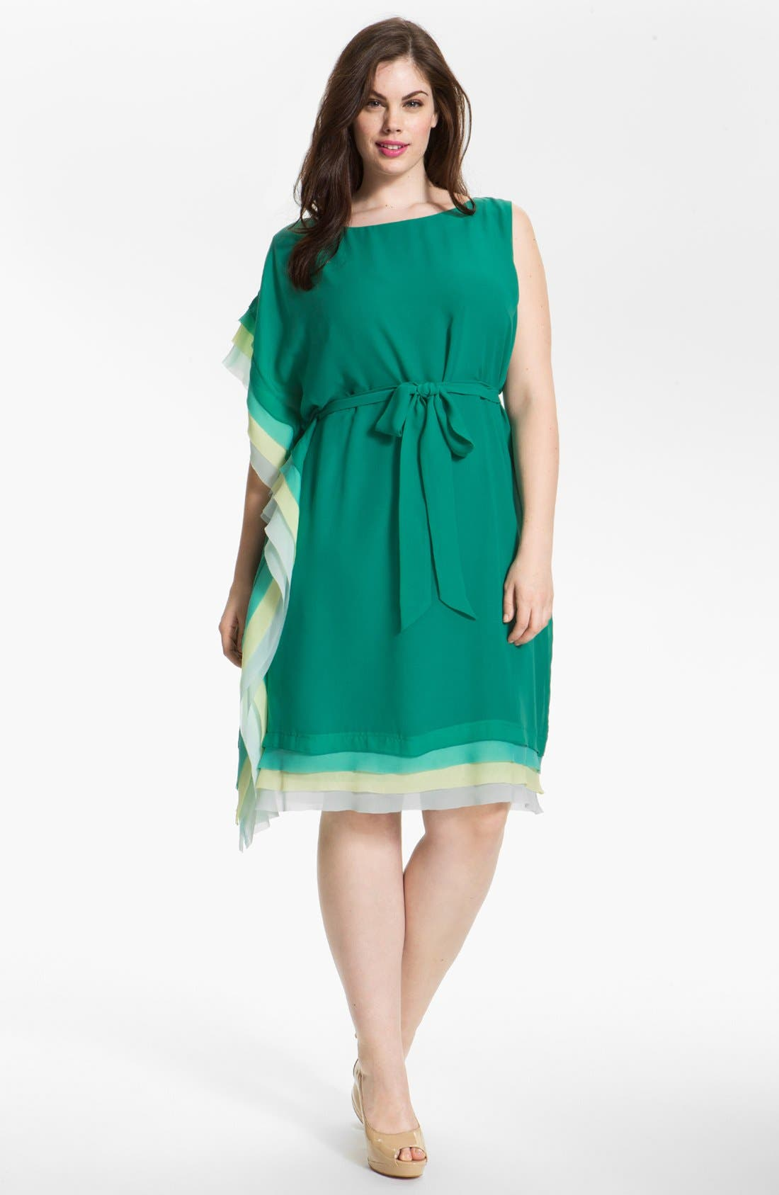 Alternate Image 1 Selected - Vince Camuto Asymmetrical Tiered Dress (Plus Size) (Online Only)