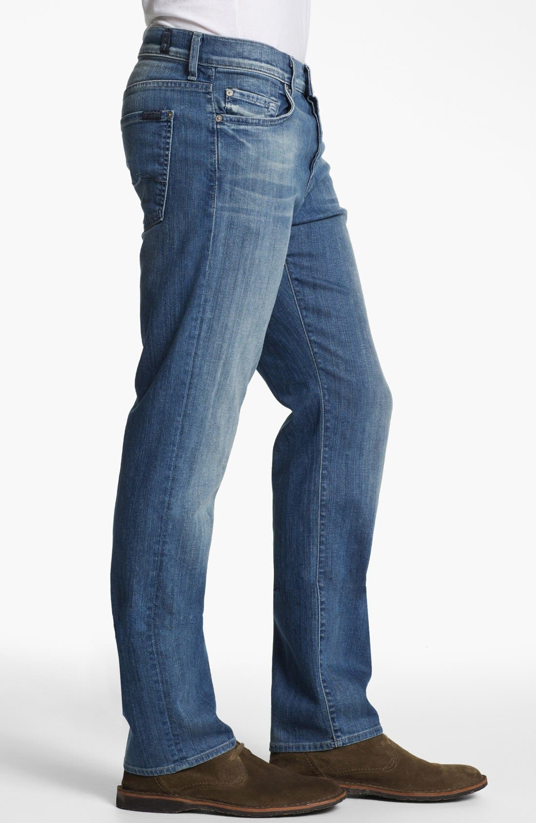 Alternate Image 3  - 7 For All Mankind® 'Standard' Straight Leg Jeans (Washed Out)