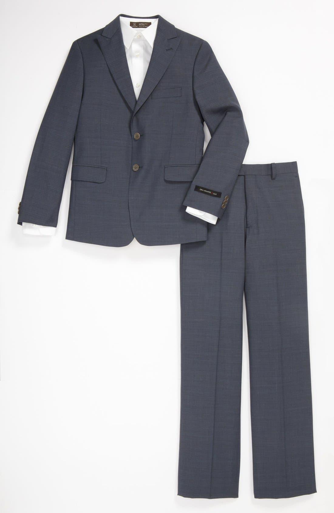 Alternate Image 1 Selected - John Varvatos Star USA Check Wool Suit (Big Boys)