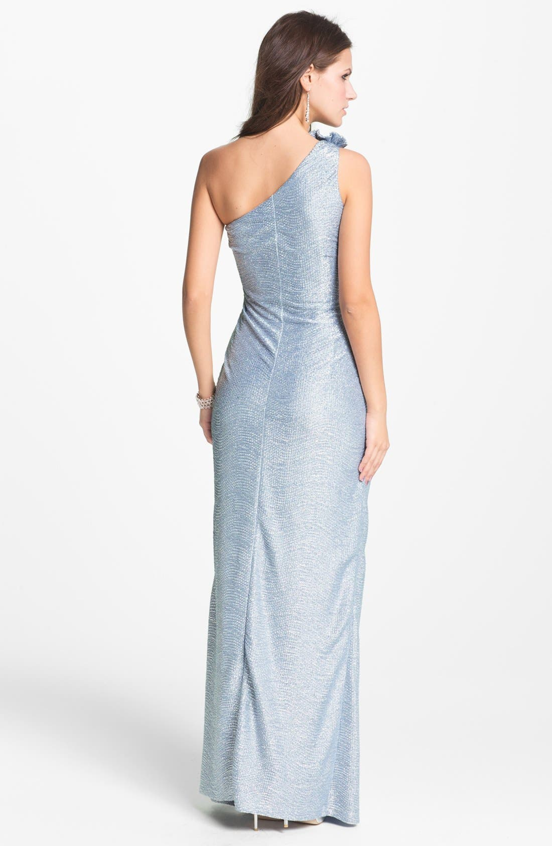 Alternate Image 2  - Hailey By Adrianna Papell Metallic One Shoulder Gown (Online Only)