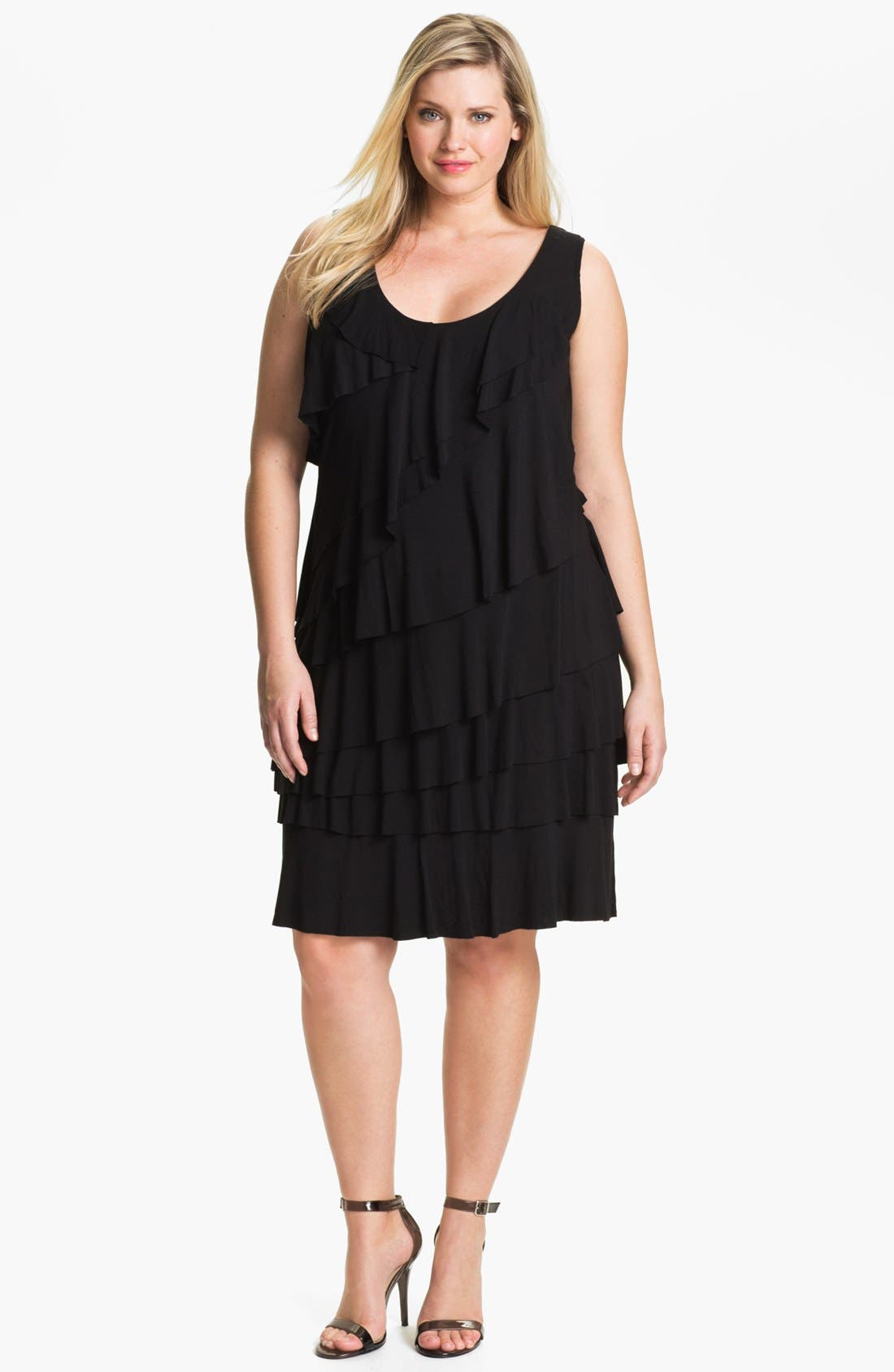 Alternate Image 1 Selected - Calvin Klein Tiered Ruffle Jersey Dress (Plus Size)