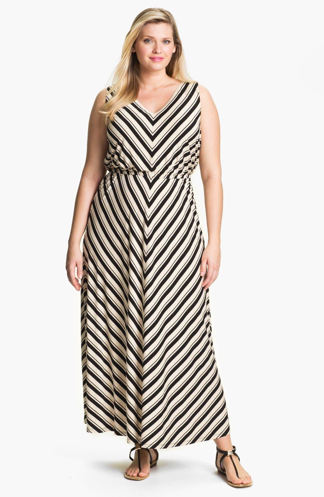 Alternate Image 1 Selected - Calvin Klein Stripe Jersey Maxi Dress (Plus Size)