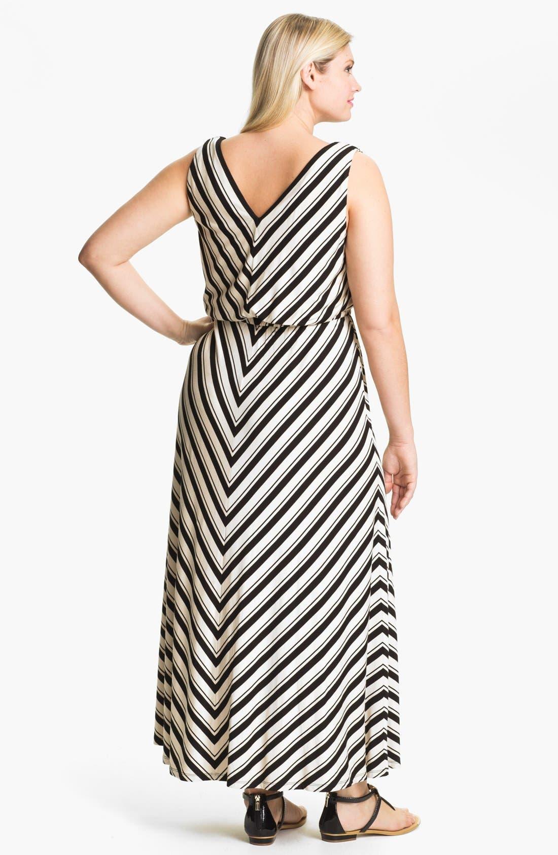 Alternate Image 2  - Calvin Klein Stripe Jersey Maxi Dress (Plus Size)