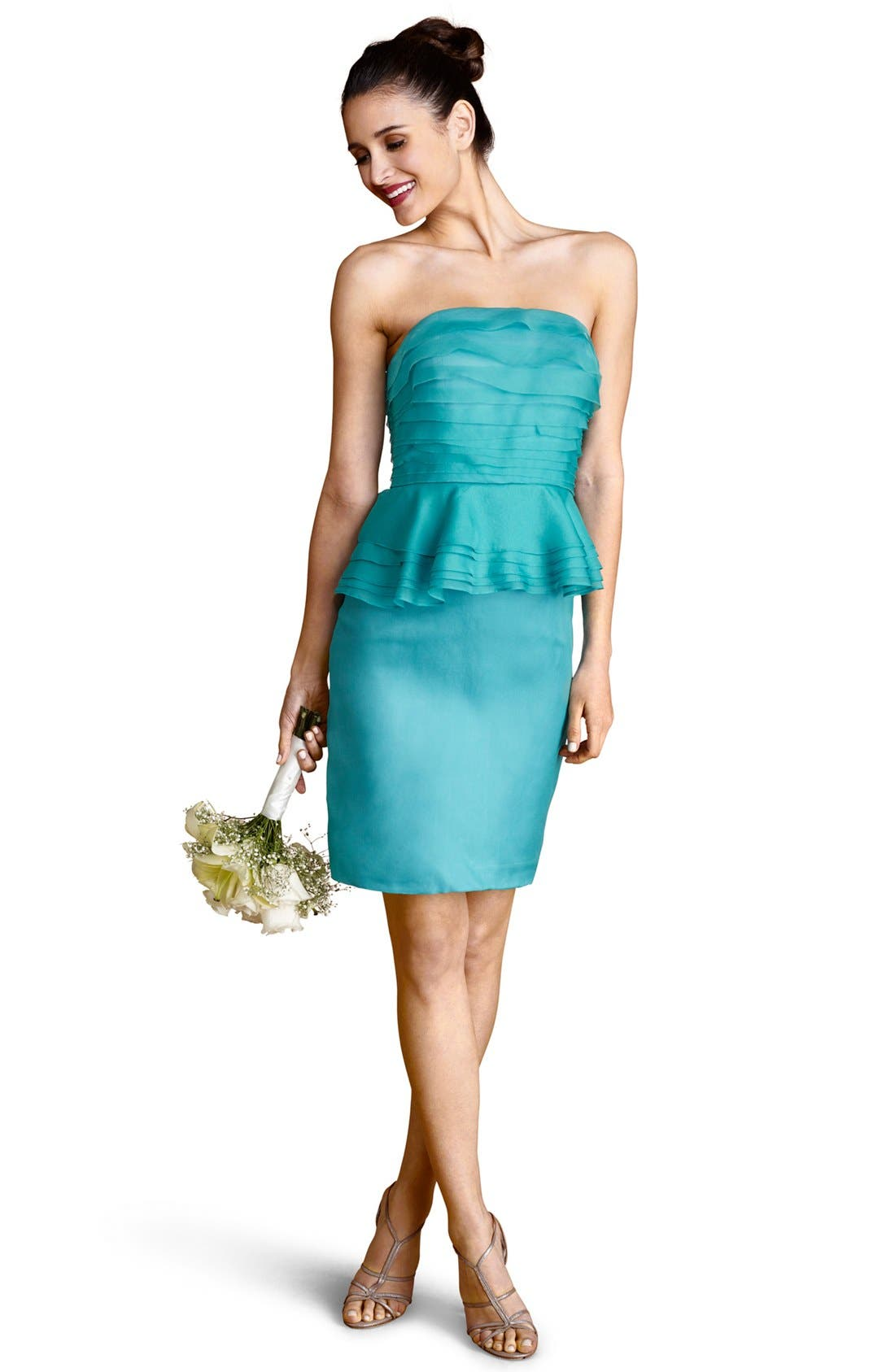 Alternate Image 1 Selected - Donna Morgan Tiered Peplum Silk Sheath Dress