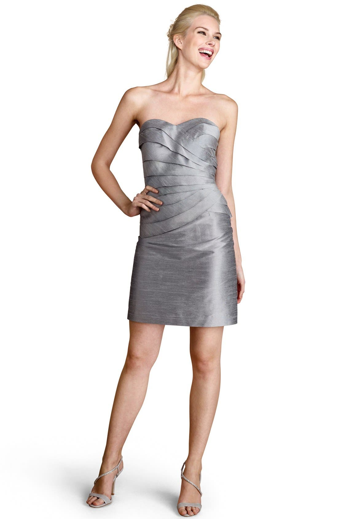 Alternate Image 1 Selected - Donna Morgan Tiered Metallic Sheath Dress (Online Only)