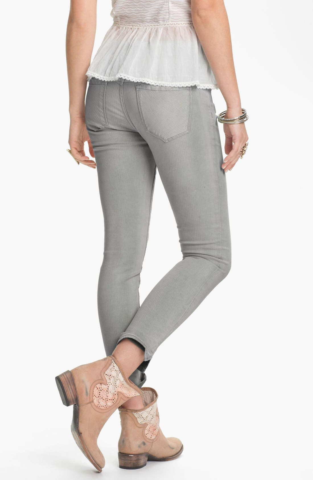 Alternate Image 2  - Free People Crop Stretch Denim Skinny Jeans (Desi Wash)