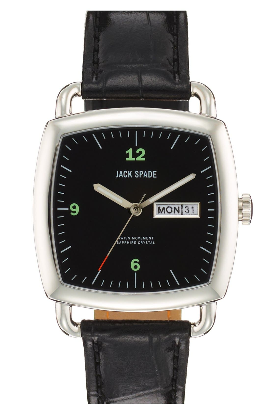 Main Image - Jack Spade 'Sutherland Pillow' Leather Strap Watch, 38mm