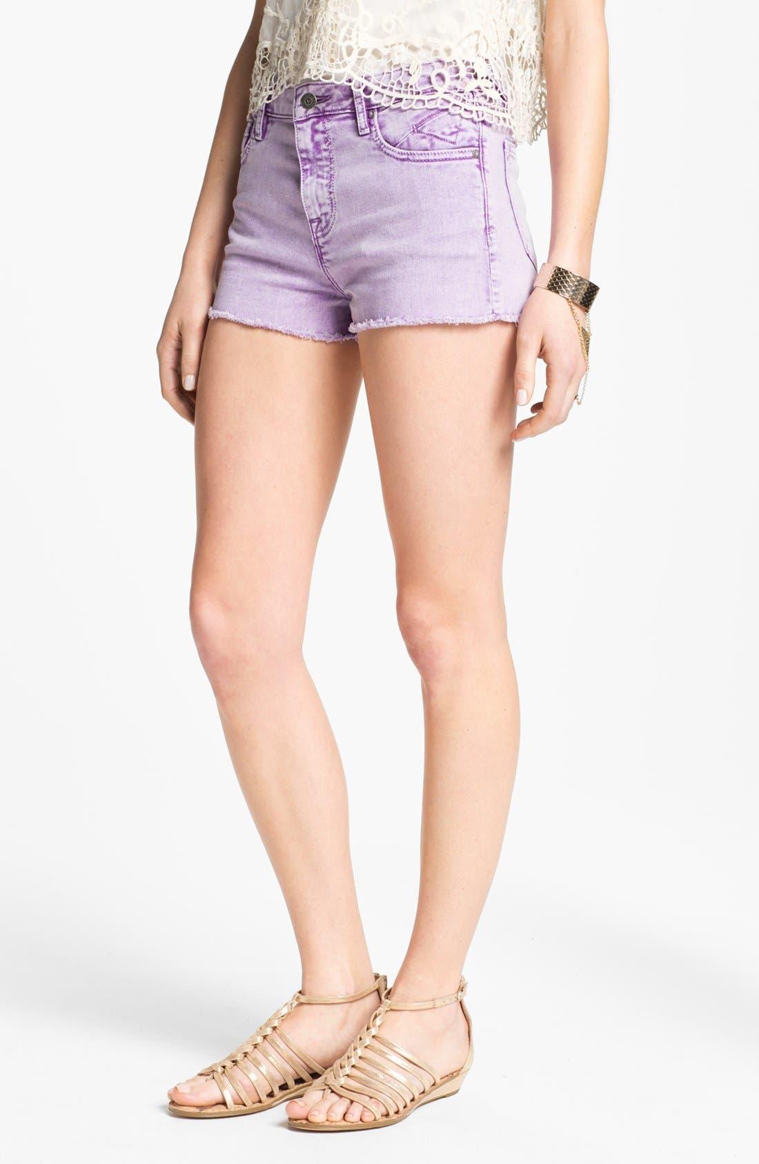 Main Image - Vigoss High Waist Cutoff Denim Shorts (Juniors)